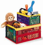 Sturdy Plastic Kids Storage Bins are Stackable, Collapsible, and Colorful