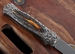 W.D. Pease Stag Damascus and Gold Engraved Folding Knife - SOLD