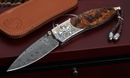 William Henry B05 Sawtelle Damascus, Gold and Ironwood Folding Knife