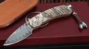 William Henry B09 Brindle Mammoth Tooth and Damascus Folding Knife