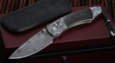 William Henry B12 Tatsu - Carved Silver & Damscus Folding Knife