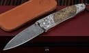 William Henry B30 Carthage Fossil Mammoth, Silver and Damascus Folding Knife