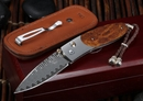 William Henry B05 TIW Ironwood and Damascus Folding Knife - OUT OF STOCK