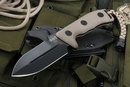 Microtech Crosshair Black Blade / Tan Handle Fixed Blade Knife - SOLD
