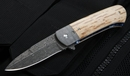 Phil Boguszewski Custom - FANG - Mammoth and Damascus Folding Knife -SOLD