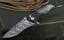 Brian Tighe - Tighe Coon Damascus, Carbon Fiber and Black Pearl Folding Knife - SOLD