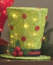 "lighted 14"" green top hat Raz Imports Christmas decoration"