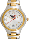 Mens Calendar Corvette two-tone metal band watch