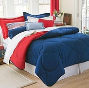 Dorm Room In A Box Navy/Red  10pc Set for XL Twin College Beds