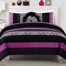 Posh  Purple Faux Fur Comforter & Sham Set