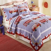 Cotton Fire Truck  Quilt with Pillow Sham/s