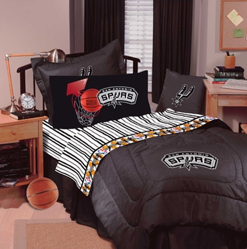 SAN ANTONIO SPURS Solid Black Denim Full Bedskirt