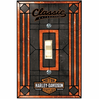 Harley Davidson� Classic Single Art-Glass Switch Plate Cover