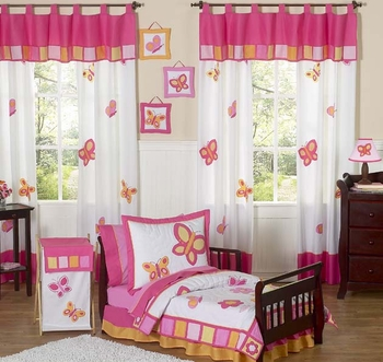Butterfly Pink & Orange 4pc Twin Bedding Ensemble