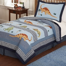 Dino Dave Blue Quilted Bedding & Accessories