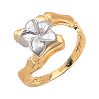 White & Yellow Plumeria Flower Ring with Bamboo Band