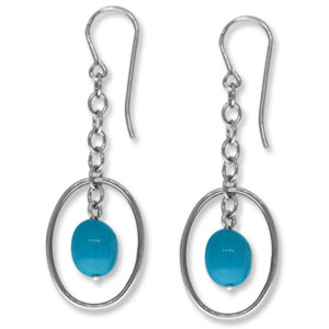 Fashion Framed Turquoise Nugget Drop Earrings - 13691tq-ss - Sterling Silver