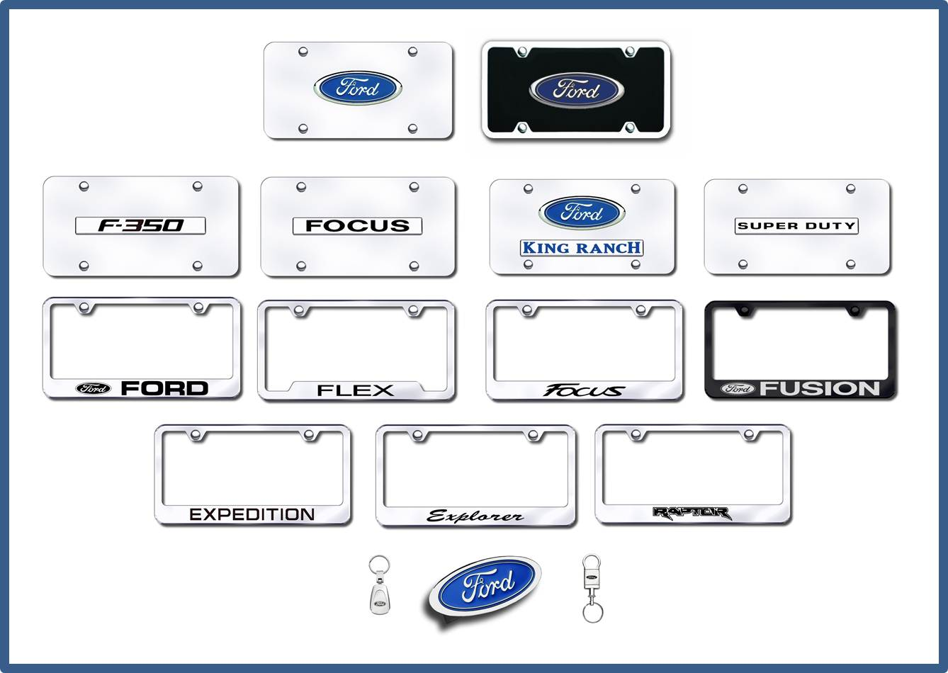 ford license plates frames hitch covers keychains