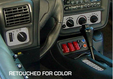 1997-2002 Camaro Silver HVAC and Headlight Switch Overlay Kits for AC equipped.