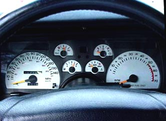 1990 Camaro White Face Gauge Overlay Kit. 140 mph 5.7L V8