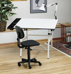 Alvin� CC Series Creative Center White Base with Office Chair and Lamp - Click to enlarge