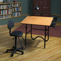 Alvin� CC Series Creative Center Black Base with Drafting Chair and Lamp