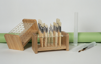 WOODEN/ACRYLIC BRUSH HOLDER with BRUSH ASSORTMENT of 24 BRISTLE BRUSHES