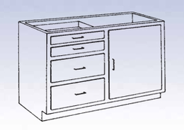 Wood Low Base - 4 drawer/single door