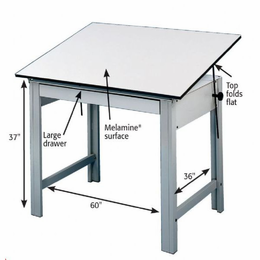 Alvin� DesignMaster Table, Gray Base White Top 37.5