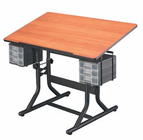 Alvin� CraftMaster� Art, Drawing, and Hobby Table Black Base with Cherry Woodgrain Top