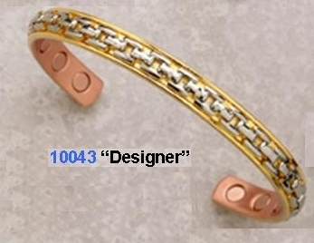 Designer Copper Magnetic Bracelet, Gold Plated with Silver Link Pattern, 12,500 Gauss, 1 bracelet