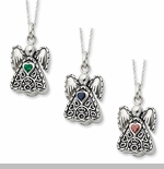 Birthstone Angel Cremation Jewelry Necklaces by Deborah Birdoes