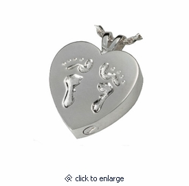 Baby Feet Heart Cremation Jewelry in Sterling Silver