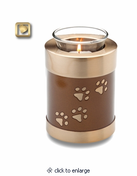 Bronze Paw Prints Tealight Candle Brass Pet Cremation Urn