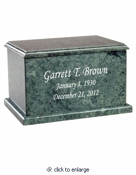 Evermore Rectangular Green Marble Engravable Cremation Urn