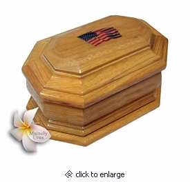 American Flag Cremation Urn in Oak