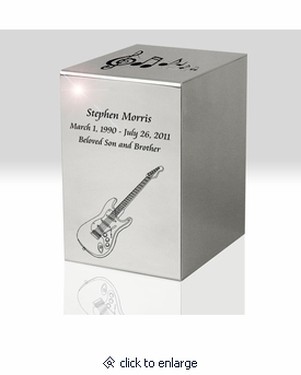 Guitar & Music Notes Polished Stainless Steel Reflection Cremation Urn