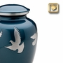 Flying Doves Brass Cremation Urn