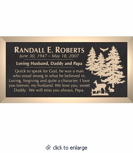 Deer Rabbit Bird Trees - Cast Bronze Memorial Cemetery Marker - 4 Sizes