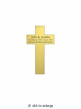 Cross Nameplate - Engraved - Gold - 1-3/4  x  3