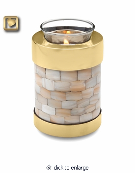 Tealight Candle Mother of Pearl Brass Keepsake Cremation Urn by LoveUrns