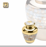 Mother of Pearl Brass Keepsake Cremation Urn by LoveUrns