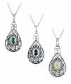 Birthstone Teardrop Cremation Jewelry Necklaces by Deborah Birdoes