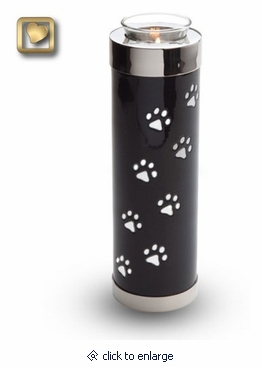 Midnight Tone Paw Prints Tall Tealight Candle Brass Pet Cremation Urn