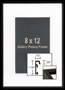 8x12 Black Picture Frames - Metal Architectural Black Photo Frame