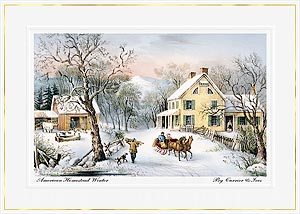 Personalized Currier and Ives Classic Winter Sled Scene Christmas Holiday Cards