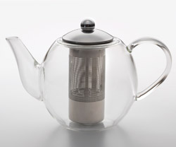 Bonjour Round Glass Teapot with Stainless Steel Infuser, 34 oz.