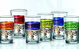 Moroccan Tea Glasses (set of 6 assorted colors)