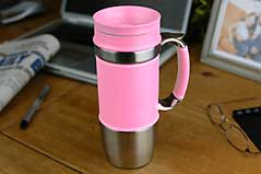 Trudeau Board Room  Executive Leather Travel Mug Pink