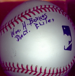 WILLIAM BARNES Autographed Baseball
